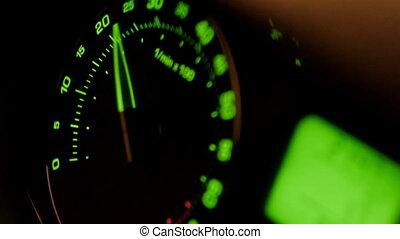tachymètre, voiture, vert, flèche, mouvement