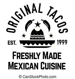tacos, original, étiquette