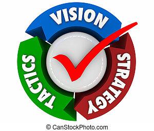 tactique, processus, flèches, illustration, stratégie, planification, vision, 3d