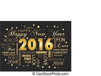 tagcloud, -, salutation, année, nouveau, 2016, carte, heureux