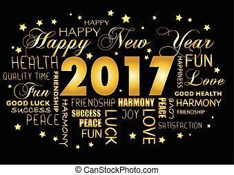 tagcloud, -, salutation, année, nouveau, 2017, carte, heureux