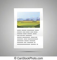 taille, gris, a4, texte, livre, illustration, ombre, document, page, paysage, icône