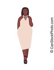 taille, porter, modèle, corps, plus, isolé, vecteur, blanc, arrière-plan., africain femelle, appearance., plat, girl, dessin animé, femme, curvy, caractère, illustration., soir, positif, jeune, dress., dodu, américain