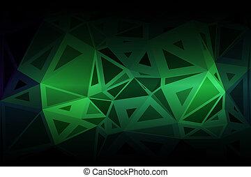 tailles, aléatoire, néon, poly, incandescent, vert, bas, fond