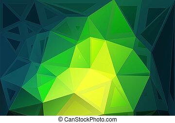 tailles, poly, aléatoire, jaune, clair, vert, bas, fond