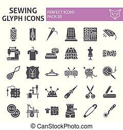 tailleur, couture, icône, paquet, ensemble, collection, isolé, croquis, symboles, solide, vecteur, arrière-plan., pictograms, signes, logo, blanc, glyph, illustrations, couture
