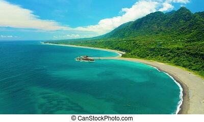 .taitung, pays, île, beau, littoral, taiwan., vue aérienne