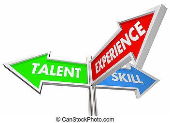 talent, candidat, illustration, 3, expérience, manière, signes, compétence, mieux, 3d