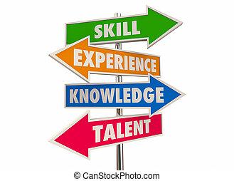 talent, connaissance, candidat, illustration, expérience, flèche, signes, compétence, mieux, 3d