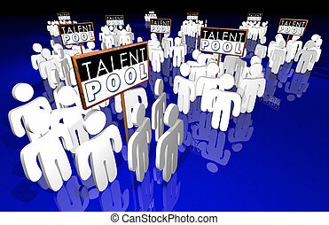 talent, gens, techniques, expérience, métier, candidats, illustration, piscine, 3d