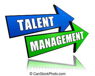 talent, gestion, flèches