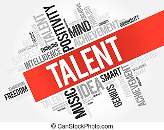 talent, mot, nuage