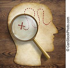 talent, psychologie, exploration, intérieur, cerveau, découvrir, concept., mondiale