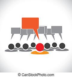 talking(speech, concept, &, graphic-, employés, vecteur, bulle, éditorial
