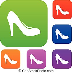 talons, ensemble, chaussure, collection, femmes