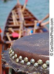 tambour, détails, bateau, dargon