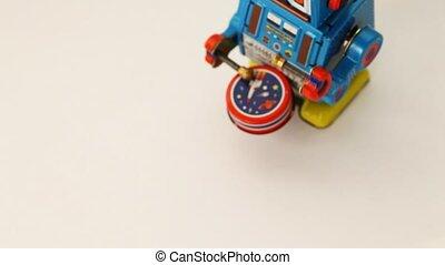 tambour, robot, une, rouage horloge, promenades, frappe