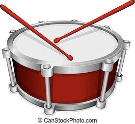 tambour, rouges, petit