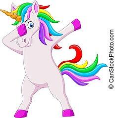 tamponner, mignon, dessin animé, licorne, cheval, danse