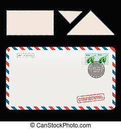 tamponnez icône, postal, ensemble, enveloppe, poste aérienne