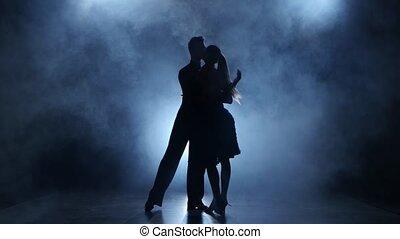 tango, silhouette, professionnel, studio, enfumé, poser, couple, danseurs