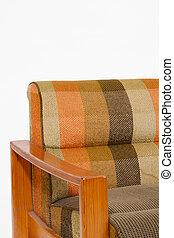 tapisserie ameublement, coloré, fauteuil bois, fond, blanc