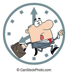 tard, homme affaires, travail