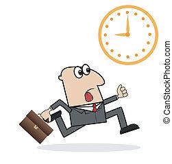 tard, travail, homme affaires