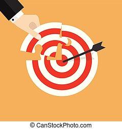 target., insertions, disparu, puzzle, main, morceau