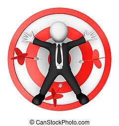 target., mensonges, 3d, centre, homme affaires