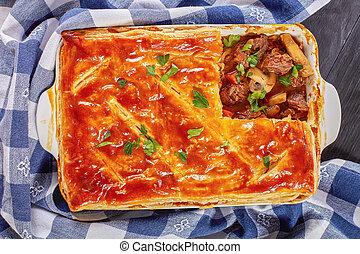tarte viande, chaud, fraîchement, australien, cuit