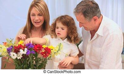 tas, confection, famille, fleurs