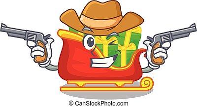 tas, cow-boy, présente, santa, traîneau, dessin animé