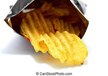 tas, encas, pomme terre, fond, blanc, chips