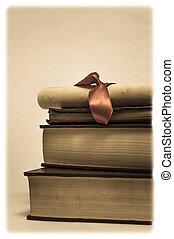 tas, livres, rouleau, diplôme