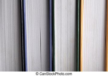 tas, livres, vue, livres, côté, fond