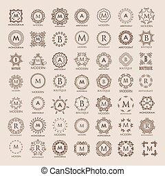 tas, templates., élégant, grand, conception, simple, luxe, monogram