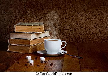 tasse à café, bois, lire, chaud, livres, frais, table, pile