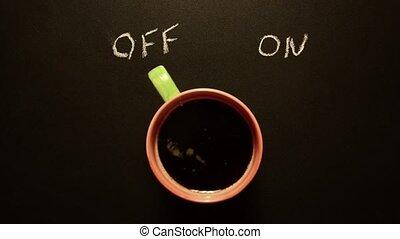 tasse à café, commutation, on.