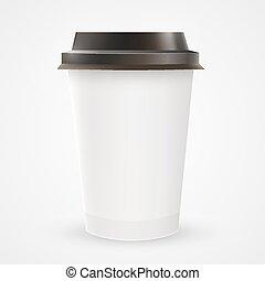 tasse à café, haut, papier, vide, fin
