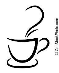 tasse à café, illustration, fond, noir, blanc