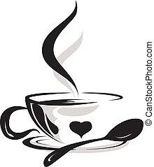 tasse à café, silhouette, amant