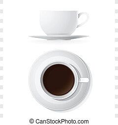 tasse à café, sommet, icônes, vue côté