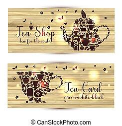 tasse, bois, thé, arrière-plan., vecteur, tea., bannières, théière