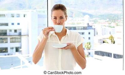 tasse, café, boire, femme affaires