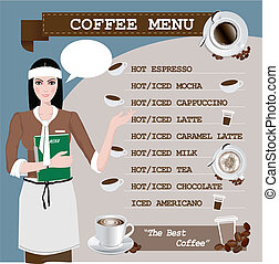 tasse, café, girl, menu