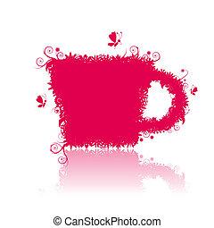 tasse, illustration, forme, vecteur, conception, thé, floral, ton