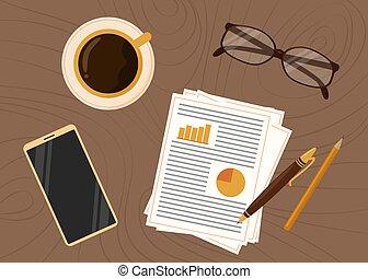 tasse, illustration, vecteur, mobile, lieu travail, bois, arrière-plan., téléphone, vue., table., sommet, maison, fournitures, café, bureau