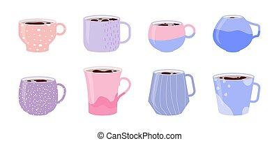 tasse, pot, café thé, céramique, vecteur, modèle, rose, ensemble