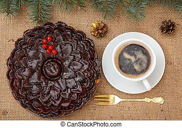 tasse, tas, viburnum, décoré, gâteau, chocolat, café